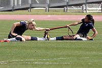19 March 2009: Johanna Frisk (SWE) stretches with Marta Vieira da Silva forward player of the Los Angeles SOL Women's Soccer Team during a mid-day pre-season practice at the Track and Field stadium at Home Depot Sports Complex in Carson, California.  Marta, 23 from Dois Riachos, Alagoas, Brazil (BRA) is a three-time FIFA Women's World Player of the Year. .