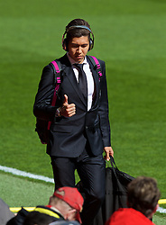 LIVERPOOL, ENGLAND - Sunday, April 10, 2016: Liverpool's Roberto Firmino arrives before the Premier League match against Stoke City at Anfield. (Pic by David Rawcliffe/Propaganda)