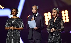 Helen Pepsi DeMacque, Andrew Ridgeley and Shirley Holliman give a tribute on stage to George Michael at the Brit Awards at the O2 Arena, London.