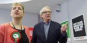 Ken Loach, director of Cathy Come Home launches Left Unity's 2015 manifesto in a Soho squat in Ingestre Court, Ingestre Place, Soho, London, Great Britain <br /> 31st March 2015 <br /> <br /> <br /> Ken Loach <br /> <br /> Kate Hudson - General Secretary <br /> <br /> <br /> Photograph by Elliott Franks <br /> Image licensed to Elliott Franks Photography Services