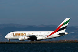 Airbus A380-861 (A6-EEO) operated by Emirates taxiing, San Francisco International Airport (KSFO), San Francisco, California, United States of America