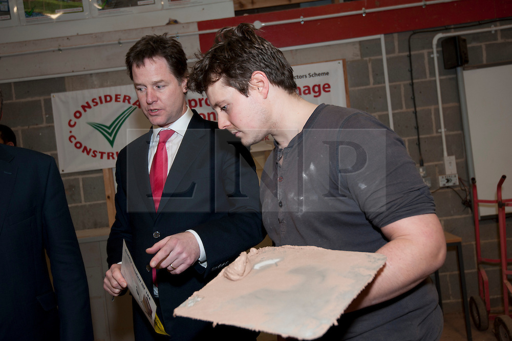 © Licensed to London News Pictures. 28/01/2013. Sheffield, UK. The deputy Prime Minster, Nick Clegg and Secretary of State for Energy and Climate Change, Edward Davey meet young people at Sheffield College who are training to provide green home improvements. The Government today launched the Green Deal- the Coalition Government's programme to help people stay warm for less. Sheffield College