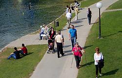 People at lake during 52nd Prvomajska Regatta Bled 2011, on April 24, 2011, at Lake Bled, Bled, Slovenia. (Photo By Vid Ponikvar / Sportida.com)