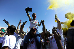 """Young Syrians celebrate during """"colors festival"""" and """"I Love Damascus"""" marathon at Umayyad Square in Damascus, Syria on October 7, 2016. This celebration comes as the world is witnessing unprecedented shelling on second Syrian city Aleppo, discussed at United Nations Security Council on the same day. Photo by Balkis Press/ABACAPRESS.COM"""