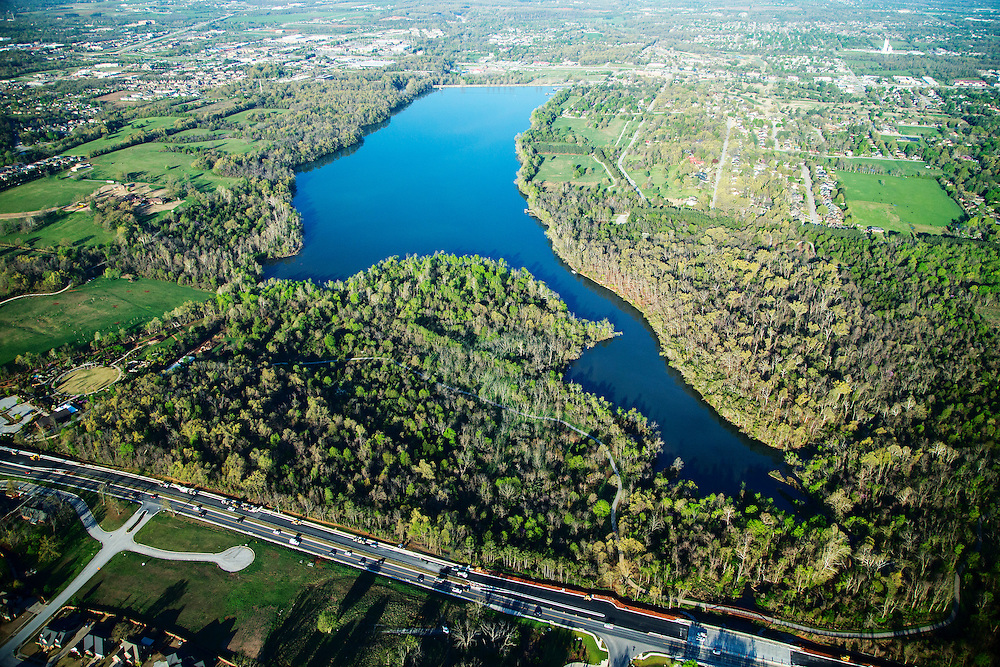 Aerials of Lake Fayetteville, Bentonville, Walmart Head Quarters, University of Arkansas Campus in Arkansas<br /> <br /> &copy; Wesley Hitt 2015