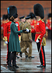 HRH The Duchess of Cambridge and Prince William attend The Irish Guards' St Patrick's Day Parade with the shamrock being presented by HRH The Duchess of Cambridge, Sunday March 17, 2013. Photo By Andrew Parsons / i-Images