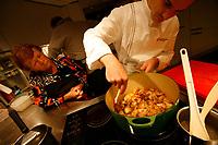 Alain Ducasse Cooking Classes, Paris<br /> making a fond de volaille