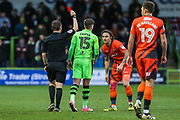 Forest Green Rovers Charlie Cooper(15) is shown a red card, sent off during the EFL Sky Bet League 2 match between Forest Green Rovers and Wycombe Wanderers at the New Lawn, Forest Green, United Kingdom on 1 January 2018. Photo by Shane Healey.