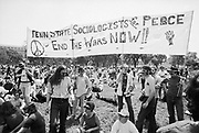 "24 May 1970 --- Anti-Vietnam War protesters in Washington DC hold a banner that reads ""Sociologists for Peace"" during a demonstration for the students killed at Kent State. 
