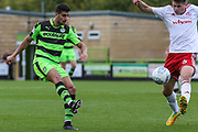 Forest Green Rovers Omar Bugiel(11) crosses the ball during the EFL Sky Bet League 2 match between Forest Green Rovers and Accrington Stanley at the New Lawn, Forest Green, United Kingdom on 30 September 2017. Photo by Shane Healey.