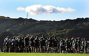 The All Blacks group together with Mt Victoria in the background.<br /> All Blacks Training Session at Rugby League Park, Newtown, Wellington. Monday 21 July 2008. Photo: Dave Lintott/PHOTOSPORT