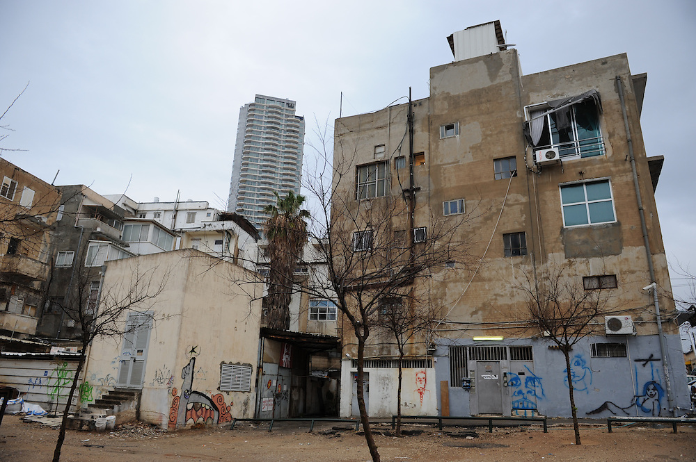 The backyard of an old building in South Tel Aviv, Israel
