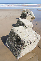 Concrete sea defences on beach at Tunstall; East Yorkshire; England
