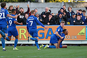 AFC Wimbledon defender Terell Thomas (6) celebrating after scoring goal to make it 1-0 during the EFL Sky Bet League 1 match between AFC Wimbledon and Portsmouth at the Cherry Red Records Stadium, Kingston, England on 19 October 2019.