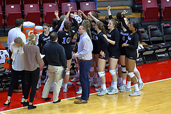 23 November 2017:  Indiana State Sycamores huddle during a college women's volleyball match between the Drake Bulldogs and the Indiana State Sycamores in the Missouri Valley Conference Tournament at Redbird Arena in Normal IL (Photo by Alan Look)