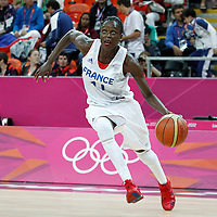 07 August 2012: France Emilie Gomis goes to the basket during 71-68 Team France victory over Team Czech Republic, during the women's basketball quarter-finals, at the Basketball Arena, in London, Great Britain.