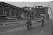 View of Belfast Barricades, Falls Rd,bombay st, nationalists, homes burned, by British loyalists,    Clonard, 30/08/1969 Falls Will Never Fall, British Troops patrol,