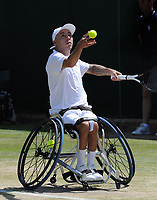 Tennis - 2019 Wimbledon Championships - Week Two, Thursday (Day Ten)<br /> <br /> Men's Wheelchair Singles, Andy Lapthorne (GBR) v David Wagner (USA)<br /> <br /> Andy Lapthorne, on  Court 17<br /> <br /> COLORSPORT/ANDREW COWIE