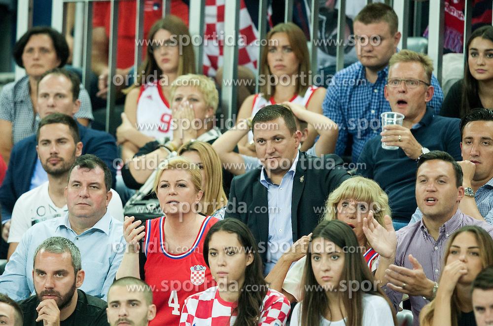 Kolinda Grabar Kitarovic, president of Croatia during basketball match between Croatia and Slovenia at Day 1 in Group C of FIBA Europe Eurobasket 2015, on September 5, 2015, in Arena Zagreb, Croatia. Photo by Vid Ponikvar / Sportida