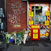 "A memorial has been placed where a man called Dennis died on the  A227 Coldharbour Lane, London, England, UK. If we drove past this place where someone's life ended, the victim would just be an anonymous statistic but flowers are left to die too and touching poems and dedications are written by family and loved-ones. One reads: ""This was a good man."" From a project about makeshift shrines: Britons have long installed memorials in the landscape: Statues and monuments to war heroes, Princesses and the socially privileged. But nowadays we lay wreaths to those who die suddenly - ordinary folk killed as pedestrians, as drivers or by alcohol, all celebrated on our roadsides and in cities with simple, haunting roadside remberences."