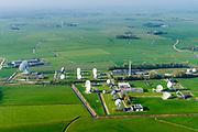 Nederland, Friesland, Burum, 04-11-2018; Satellietgrondstation 12, beter bekend als It Greate Ear of It Grutte Ear (het grote oor). Het enige Nederlandse grondstation t.b.v. internationale verbindingen via telecommunicatiesatelliet. Op het terrein naast het Stratos satellietgrondstation heeft ook het Ministerie van Defensie, Nationale Signals Intelligence Organisatie (NSO), schotels geplaatst om, in het kader van de terrorismebestrijding, gegevens te onderscheppen van telecommunicatie satelieten. Satelite communication ground station, used to intercept telecommunications satellites data.<br /> luchtfoto (toeslag op standaard tarieven);<br /> aerial photo (additional fee required);<br /> copyright© foto/photo Siebe Swart