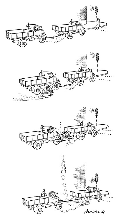 (a bubble car manouevres in between two lorries on tow at a junction and is catapulted into the air when the traffic lights change and the tow rope snaps into place)