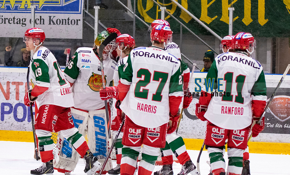 2019-12-02 | Umeå, Sweden:Mora IK:s player are not happy after the lost in  HockeyAllsvenskan during the game  between Björklöven and Mora at A3 Arena ( Photo by: Michael Lundström | Swe Press Photo )<br /> <br /> Keywords: Umeå, Hockey, HockeyAllsvenskan, A3 Arena, Björklöven, Mora, mlbm191202, sad unhappy disappointment disappointed dejected