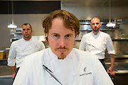 Chef Grant Achatz (center), with executive chef Mike Bagale and chef de cuisine Simon Davies in the kitchen of Alinea, an upscale restaurant which underwent a total gut renovation in the Lincoln Park neighborhood of Chicago, Ill., on Thursday, April 28, 2016. Nathan Weber for the New York Times