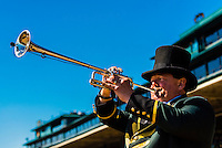 Bugler calls the start of each race, horse racing at Keeneland Racecourse, Lexington, Kentucky USA.