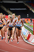 Ajee Wilson (USA) defeats Natoya Goule (JAM) to win the women's 800m in 2:00.76 during the Birmingham Grand Prix, Sunday, Aug 18, 2019, in Birmingham, United Kingdom. (Steve Flynn/Image of Sport via AP)