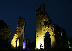 © Licensed to London News Pictures. 13/09/2014. The annual spectacle of lights display at Glastonbury Abbey , Glastonbury in Somerset. Photo credit : Jason Bryant/LNP