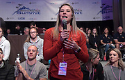Jan 18, 2019; Sparks, NV, USA; Lexi Jacobus of Arkansas speaks at the UCS Spirit National Pole Vault Summit general assembly at the Nugget Casino Resort.