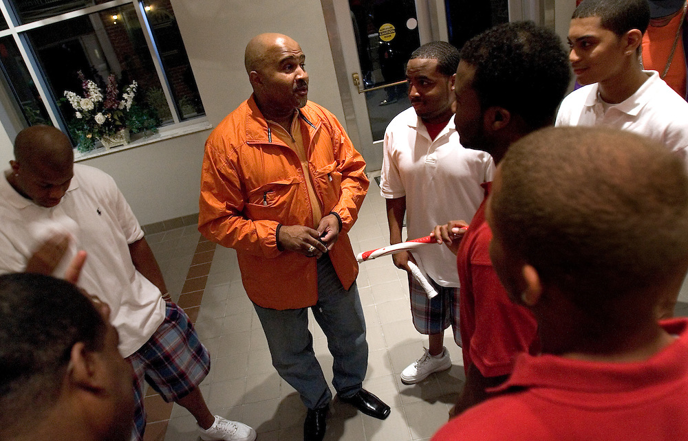 O.U. alum Rufus Mobley III talks with members  of Kappa Alpha Psi fraternity after they performed during the Greek alumni step show, Friday's entertainment for the O.U.'s Black Alumni Weekend on Friday, 5/18/07. The fraternity was one of three O.U. Greek organizations competing in the show..during the university's Black Alumni Weekend dinner on Friday, 5/18/07, at the Ping Center.