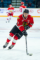 KAMLOOPS, CANADA - NOVEMBER 5:  Cody Glass #8 of Team WHL (Portland Winterhawks) warms up against the Team Russia on November 5, 2018 at Sandman Centre in Kamloops, British Columbia, Canada.  (Photo by Marissa Baecker/Shoot the Breeze)