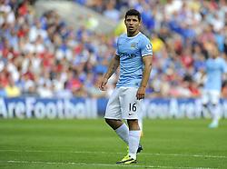 Manchester City's Sergio Aguero  - Photo mandatory by-line: Joe Meredith/JMP - Tel: Mobile: 07966 386802 25/08/2013 - SPORT - FOOTBALL - Cardiff City Stadium - Cardiff -  Cardiff City V Manchester City - Barclays Premier League