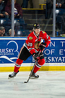 KELOWNA, BC - MARCH 03: Joachim Blichfeld #20 of the Portland Winterhawks skates with the puck against the Kelowna Rockets  at Prospera Place on March 3, 2019 in Kelowna, Canada. (Photo by Marissa Baecker/Getty Images)