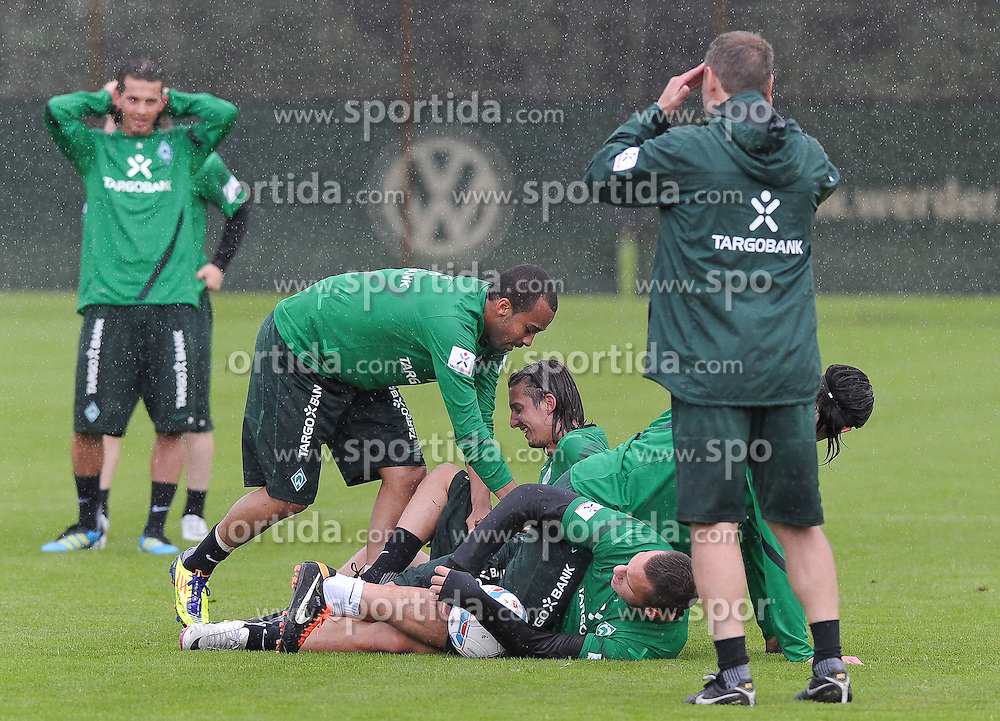 01.07.2011, Trainingsgelaende Werder Bremen, Bremen, GER, 1.FBL, Training Werder Bremen, im Bild Wesley (Bremen #5), Predrag Stevanovic (Bremen #31), Marko Arnautovic (Bremen #7), Tim Wiese (Bremen #1)   // during training session from Werder Bremen 2011/07/01    EXPA Pictures © 2011, PhotoCredit: EXPA/ nph/  Frisch       ****** out of GER / CRO  / BEL ******