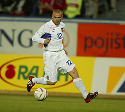 TEPLICE, CZECH REPUBLIC - Wednesday, April 30, 2003: Czech Republic's Lukas Dosek in action against Turkey during a friendly match at the Teplice Stadion Na Stinadlech. (Pic by David Rawcliffe/Propaganda)