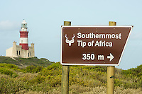 the Agulhas Lighthouse - the oldest working lighthouse in South Africa lies close to the southernmost tip of Africa, which is a popular tourist destination. Agulhas National Park, Western Cape, South Africa