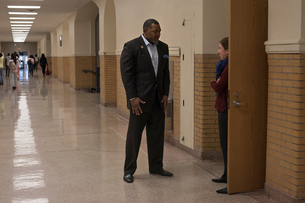 Superintendent Dr Anthony Hamlet stops to speak with French teacher Clemence Darriet (right) during a visit to Westinghouse High School in December.