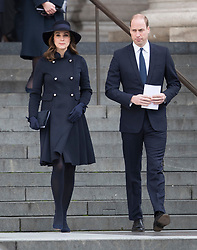 © Licensed to London News Pictures. 14/12/2017. London, UK.The Duke and Duchess of Cambridge outside St Paul's Cathedral after attending the Grenfell Tower National Memorial Service mark the six month anniversary of the fire. The service was attended by survivors and relatives of those who lost their lives in the fire, as well as members of the emergency services and members of the Royal family. 71 people were killed when a huge fire ripped though 24-storey Grenfell Tower block in west London in June 2017. Photo credit: Peter Macdiarmid/LNP
