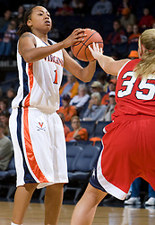 Virginia forward Lyndra Littles (1) is guarded by Richmond forward Christina Campion (35).  The Virginia Cavaliers women's basketball team faced the Richmond Spiders at the John Paul Jones Arena in Charlottesville, VA on November 18, 2007.