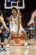 Southern California Trojans guard Elijah Weaver (3) dribbling during an NCAA college basketball game against the Pepperdine Waves, Tuesday, Nov. 19, 2019, in Los Angeles. USC defeated Pepperdine 91-84. (Jon Endow/Image of Sport)