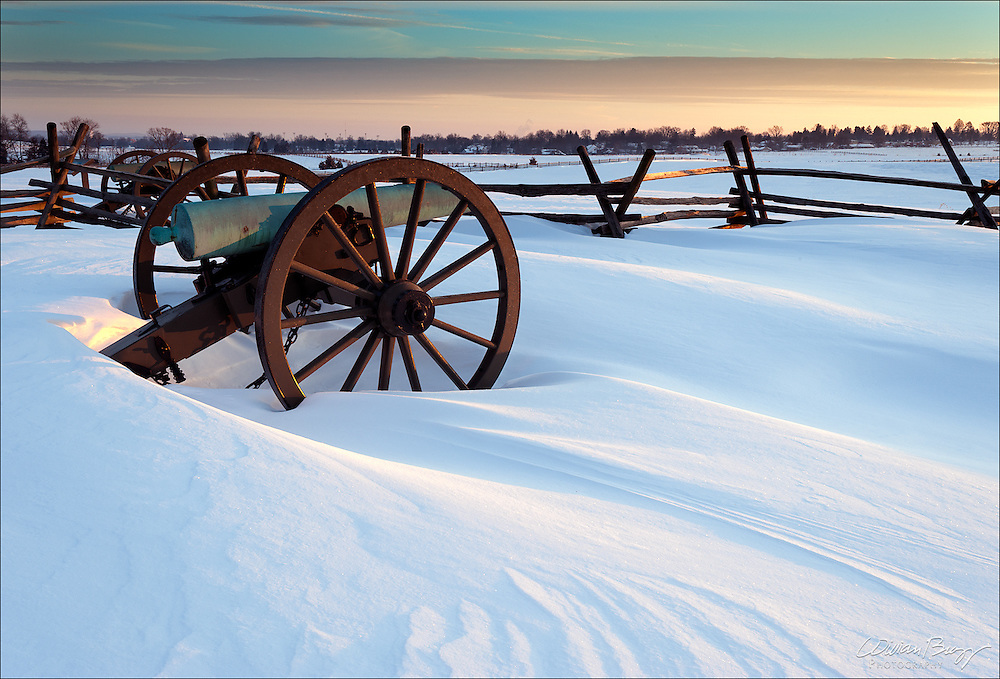 Cold and silent cannons on a cold morning at Gettysburg National Military Park