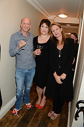 Left to right, SIMON SEBAG-MONTEFIORE, SARAH VINE and ALLIE ESIRI at a party to celebrate the publication of Restaurant Babylon by Imogen Edwards-Jones held at Little House, 12a Curzon Street, London on 2nd July 2013.