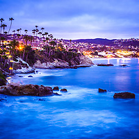 Picture of Laguna Beach California city at night. Laguna Beach is a Southern California beach city along the Pacific Ocean.