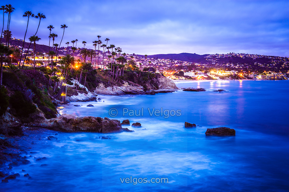 Picture Of Laguna Beach California City At Night Is A Southern