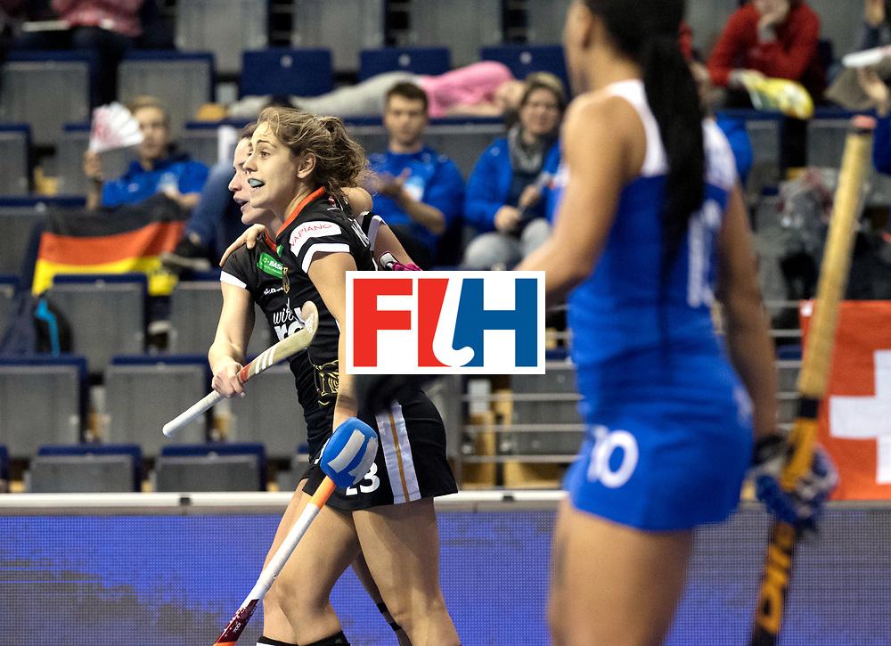 BERLIN - Indoor Hockey World Cup<br /> Women: Switzerland - Belarus<br /> foto: Marie M&auml;vers celebrates.<br /> WORLDSPORTPICS COPYRIGHT FRANK UIJLENBROEK