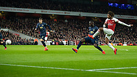 Football - 2018 / 2019 FA Cup - Fourth Round: Arsenal vs. Manchester United <br /> <br /> Alex Iwobi (Arsenal FC) with and attempt at the Manchester United goal at The Emirates Stadium.<br /> <br /> COLORSPORT/DANIEL BEARHAM