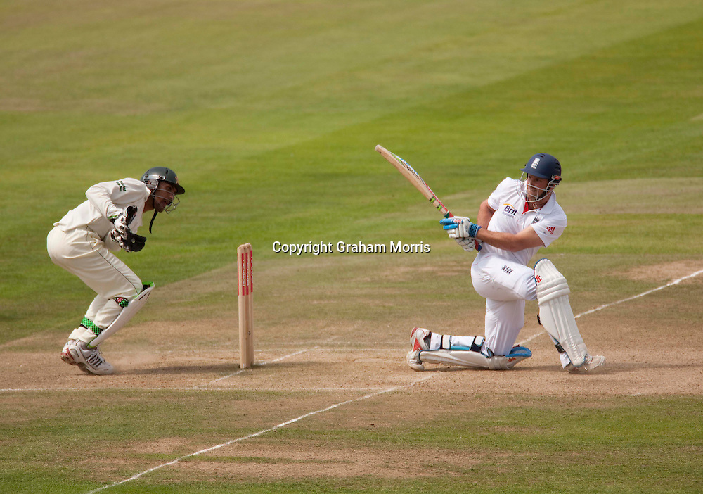 Andrew Strauss bats during the second npower Test Match between England and Pakistan at Edgbaston, Birmingham.  Photo: Graham Morris (Tel: +44(0)20 8969 4192 Email: sales@cricketpix.com) 09/08/10